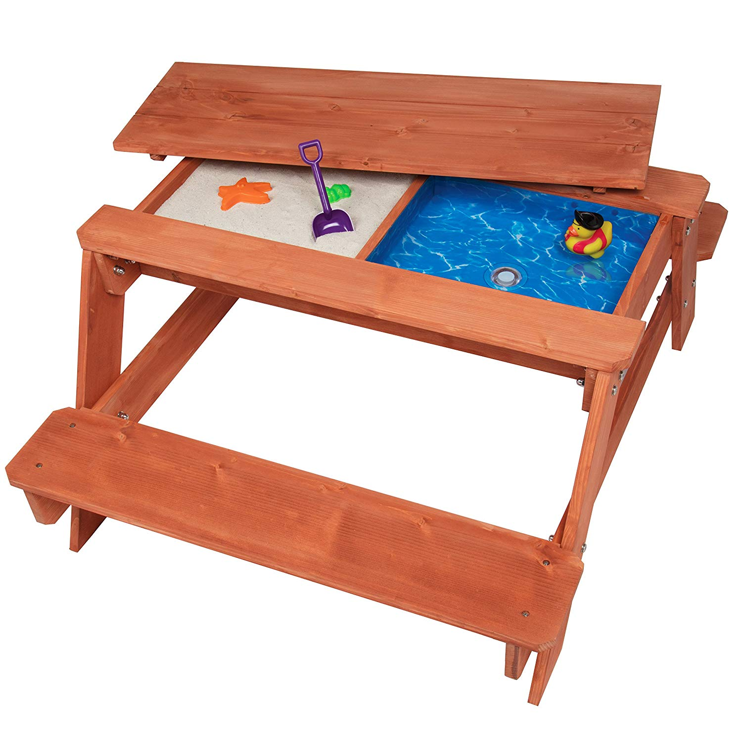 Brilliant Kids Picnic Table And Chairs Set W Cushions Outdoor Wooden Desk And Benches Sand And Water Table Patio Dining Playful Wood Table 2 Large Storage Download Free Architecture Designs Scobabritishbridgeorg
