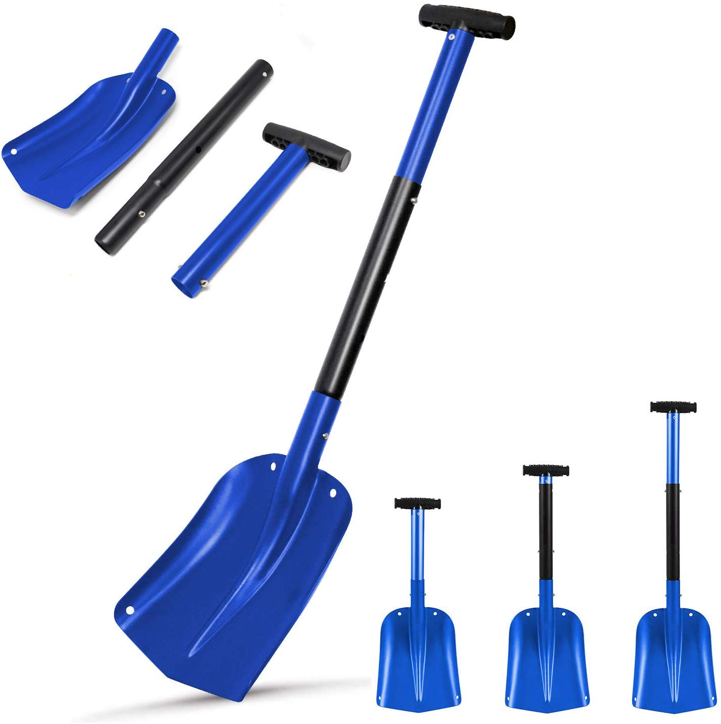 Black Leaflai Snow Shovel for Car Large Capacity Snow Shovel Durable Aluminum Edge Blade for Car Truck Driveway Camping Outdoor Emergency 3 Piece Detachable Portable Emergency Snow Shovel