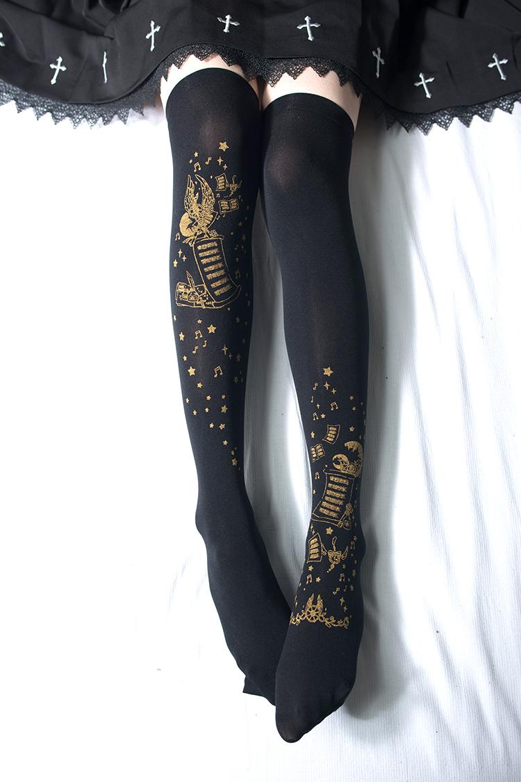 4d6cc4490090b Reina~Star and moon movement Hot Stamping Lolita High sock Item NO: rei-6