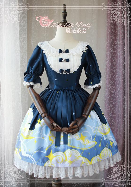 a6d245fd42 The starry sky~Pringting Sweet Lolita OP Dress Item NO  mat-24