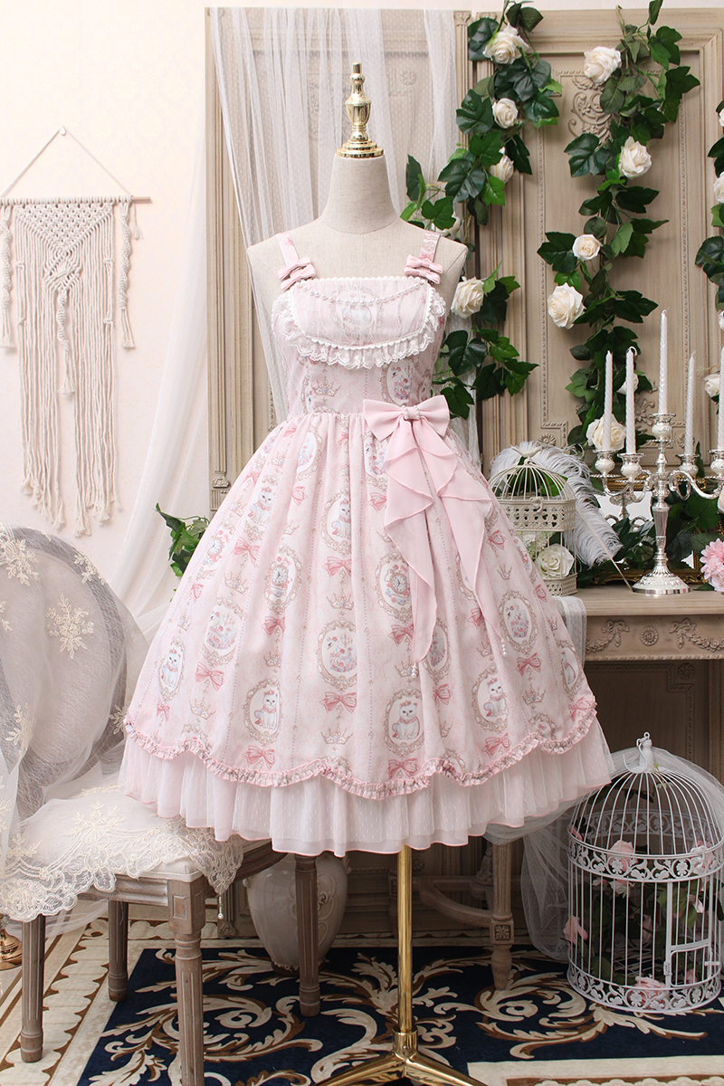 698322d7a9490 Alice girl~Picture frame cat with bead chain normal waist Lolita Jumper  dress