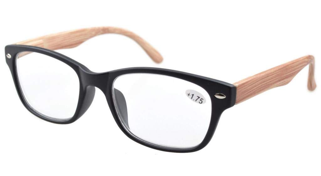 3dc91cfca6f Eyekepper Reading Glasses Quality Spring Hinge Wood-look Printed Arms with  Color Frame Readers R017