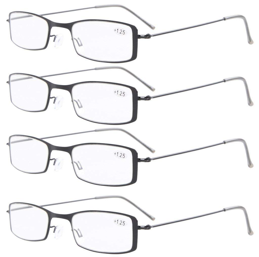 31b4014d937 Eyekepper 4-Pack Stainless Steel Frame Half-eye Style Reading Glasses  Includes Sun Readers R15005-4pc