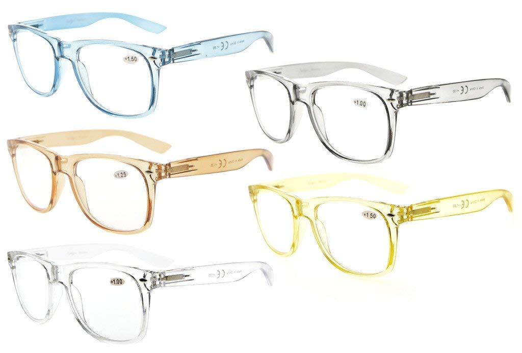 b49cf606e92 Eyekepper 5 Pack Comfortable Readers Spring Hinges Large Simple Reading  Glasses RX Magnification R133-Mix-5pcs