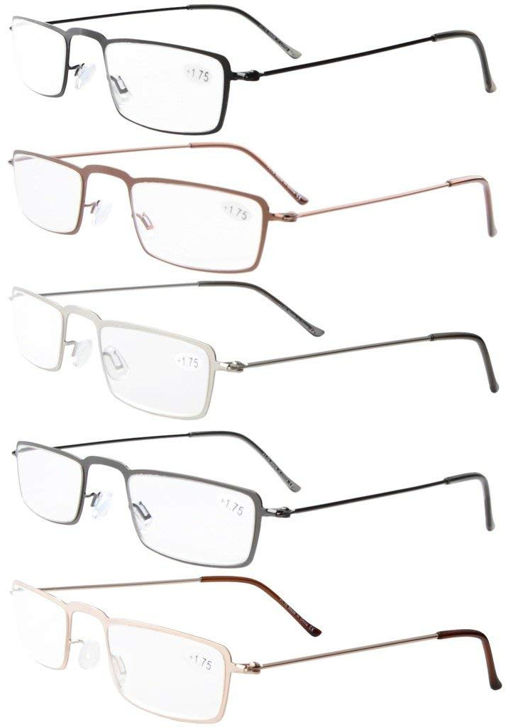 f7ac012a65 Eyekepper 5-Pack Straight Thin Stamped Metal Frame Half-eye Style Reading  Glasses Readers R12004-Mix