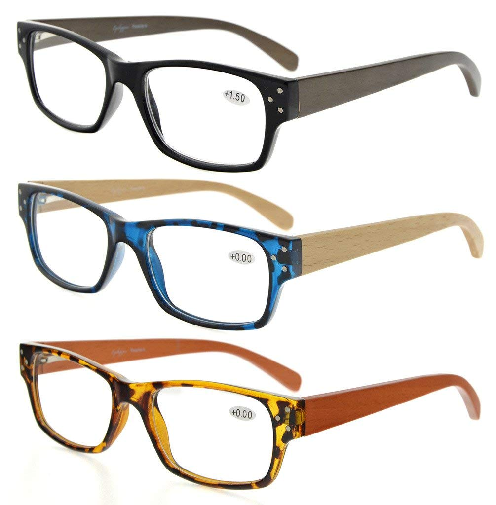 38c127d0a1a 3-Pack Spring Hinges Wood Arms Reading Glasses Men Women R132-Mix-3pcs Item  NO  R132-Mix-3pcs
