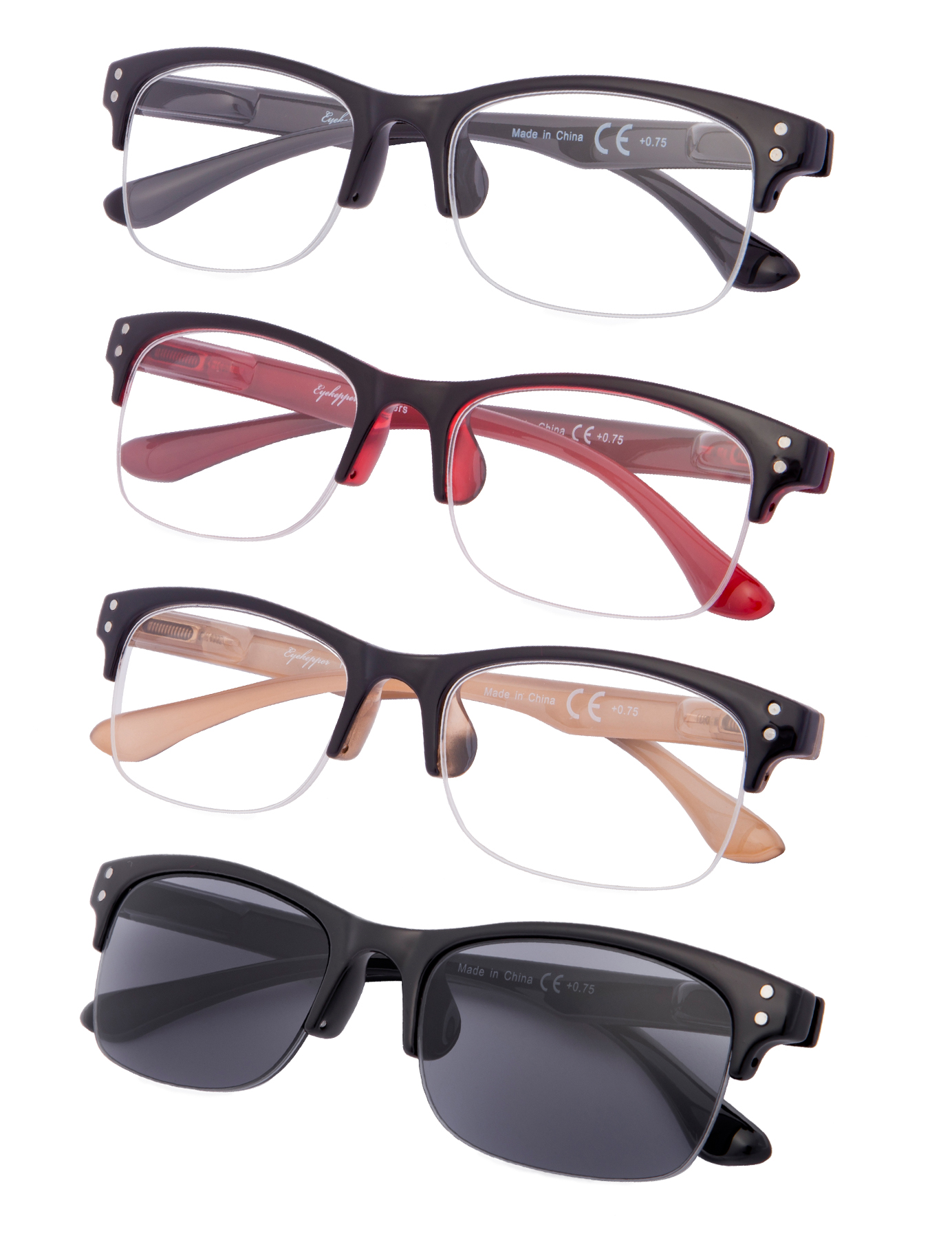 2c070629d7f5 Eyekepper Reading Glasses 4-pack Stylish Half-rim Design with Quality Spring  Hinges Readers R088-4pcs-Mix