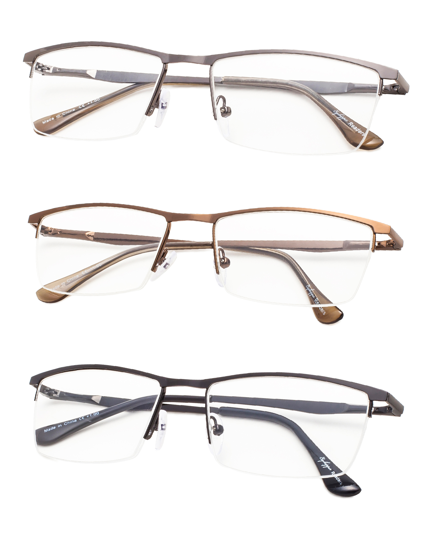 9a7478e58e71 Eyekepper Reading Glasses 3-Pack Quality Metal Half-Rim Design with  Rectangle Lens R1614-3pcs-Mix