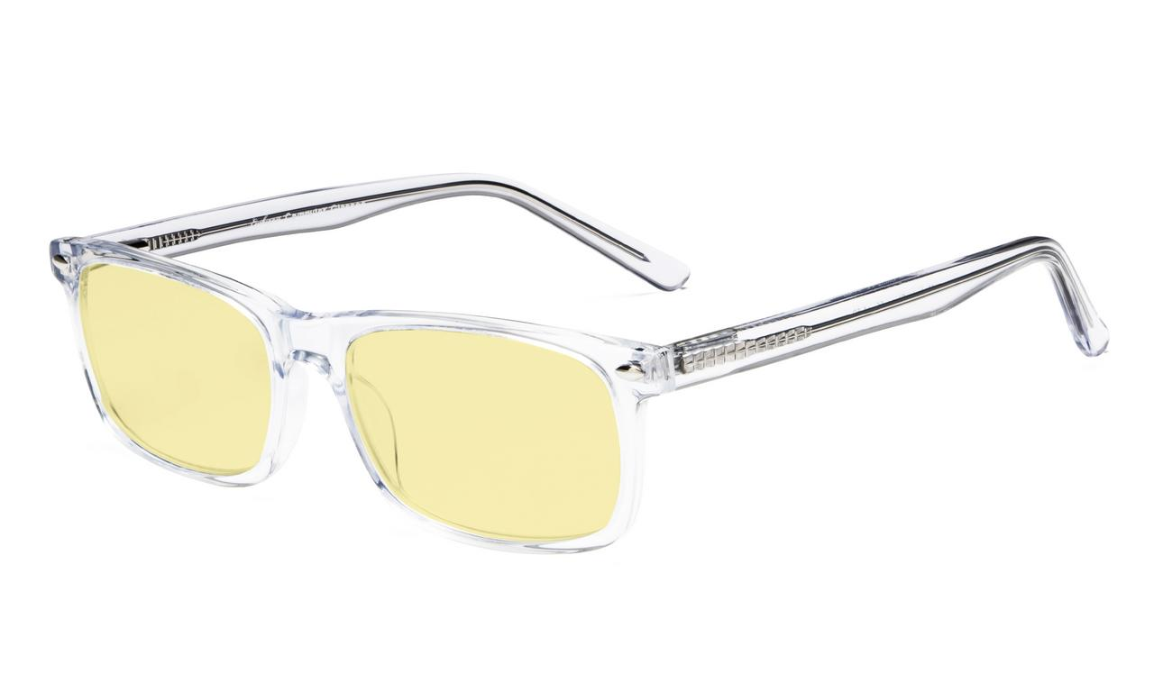77b22a08a7 Computer Reading Glasses Blue Light Blocking Acetate Frame Yellow Tinted  Lens Transparent Acetate Frame TMB899 Item NO  TMB899-Clear-Frame