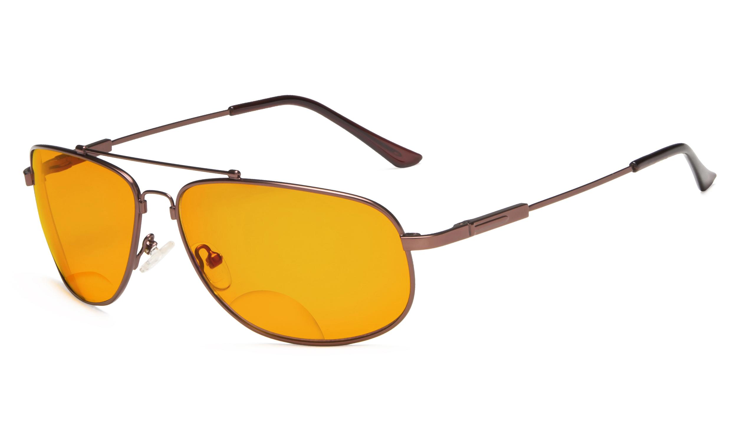 ca8e3fc86704 Eyekepper Bifocal Reading Glasses Blue Blocking for Sleep-Nighttime Memory  Frame Orange Tinted Brown DSSG1803