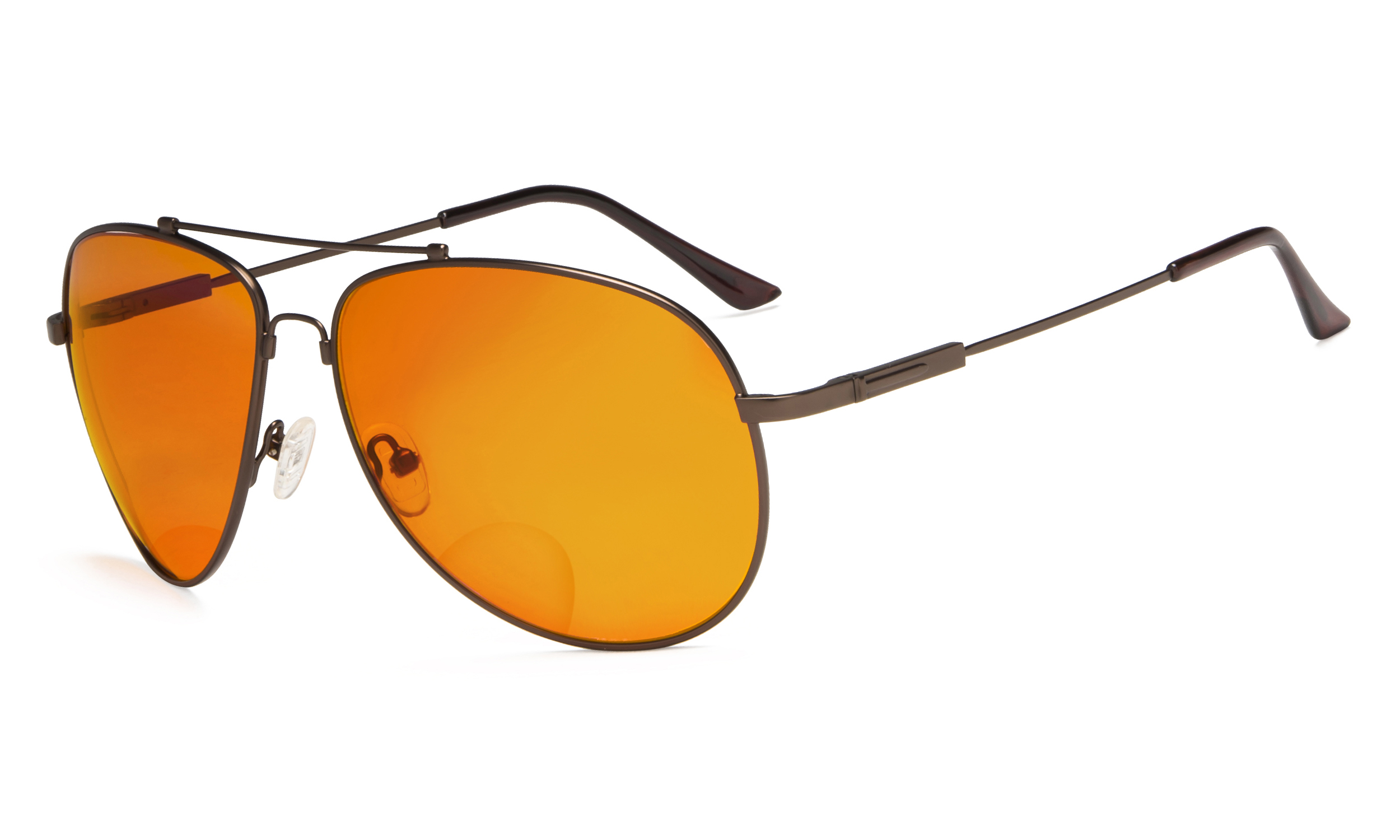 2529cdc99c70 Eyekepper Bifocal Reading Glasses Blue Blocking for Sleep-Nighttime Orange  Tinted Men Women Brown DSSG1802