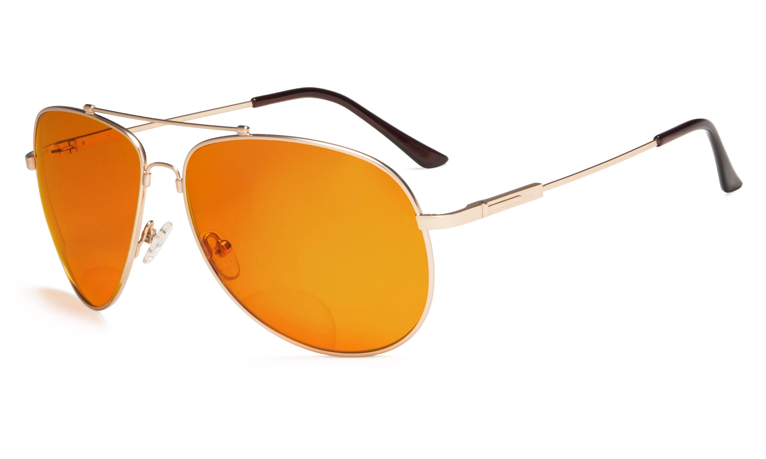 dd6ca063a461 Eyekepper Bifocal Reading Glasses Blue Blocking for Sleep-Nighttime Orange  Tinted Men Women Gold DSSG1802