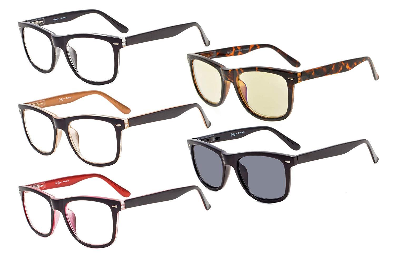 7deec2c97178 Eyekepper Reading Glasses 5-pack Retro Square Design Lens with Quality Spring  Hinges for Readers Women Men Mix Color +3.50