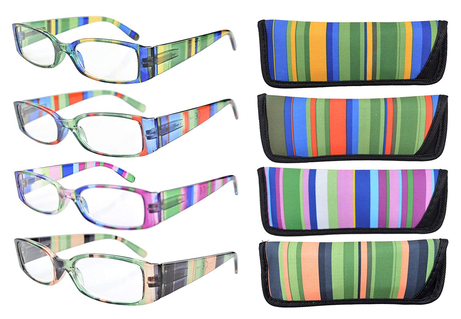 eb1ee9314a9c Eyekepper Reading Glasses 4-Pack Striped Design Temples with Rectangular Frame  Readers Women Men Mix Color +2.50