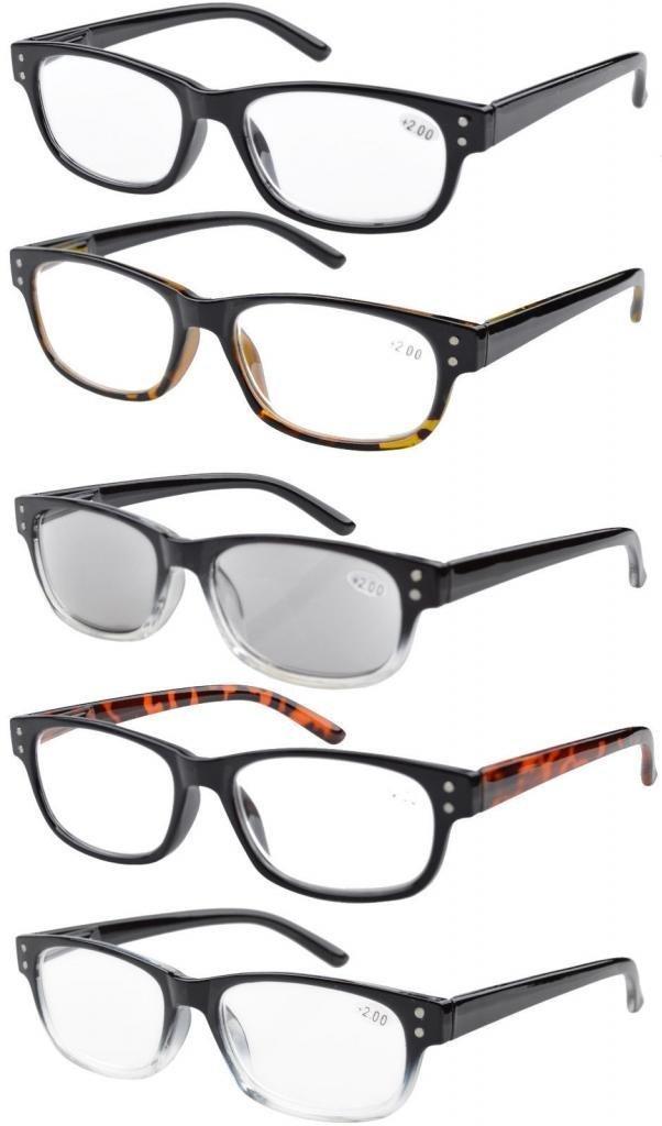 b3863193b20f Eyekepper Reading Glasses Quality Spring Hinge 5-pack Includes Sunglasses  Readers Women Men Mix Color +1.25
