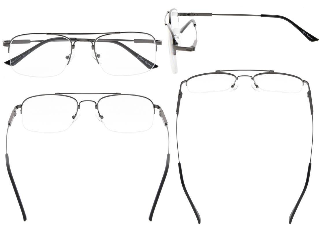 06431c68ea3a Eyekepper Half-rim Memory Titanium Bendable Reading Glasses Readers  Gunmetal +3.00