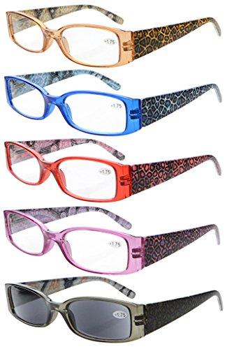 2eb983c93f2b Eyekepper 5-Pack Spring Hinges Tiger Patterned Temples Reading Glasses  Sunshine Readers +4.0