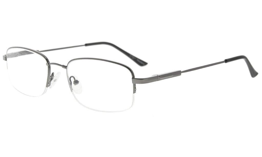 8f2589f8ec90 Eyekepper Bendable Titanium Memory Reading Glasses Half-Rim Readers  Gunmetal +3.00
