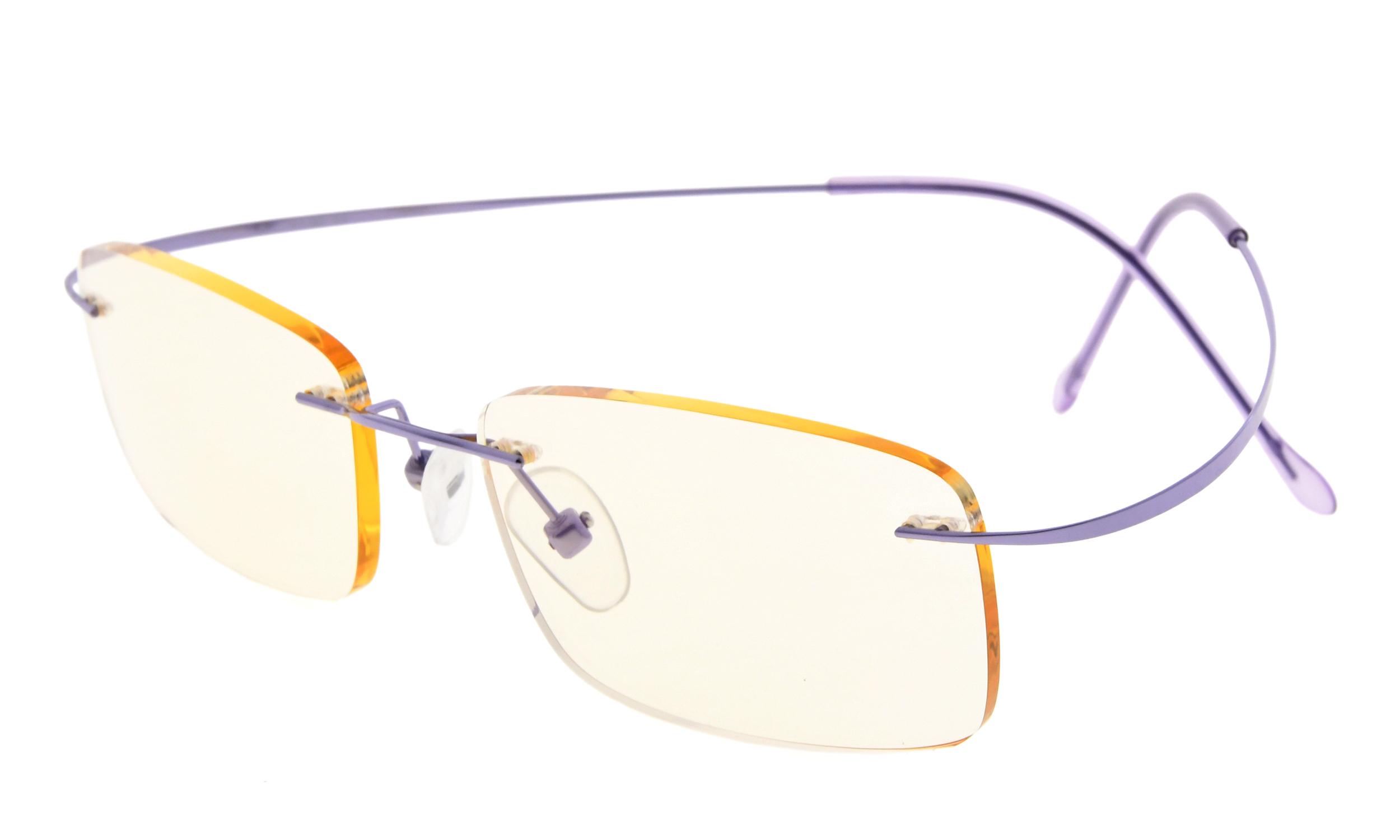 633cefc43559 Eyekepper Computer Reading Glasses UV Protection Titanium Rimless Stylish Readers  Women Men Purple CG1508