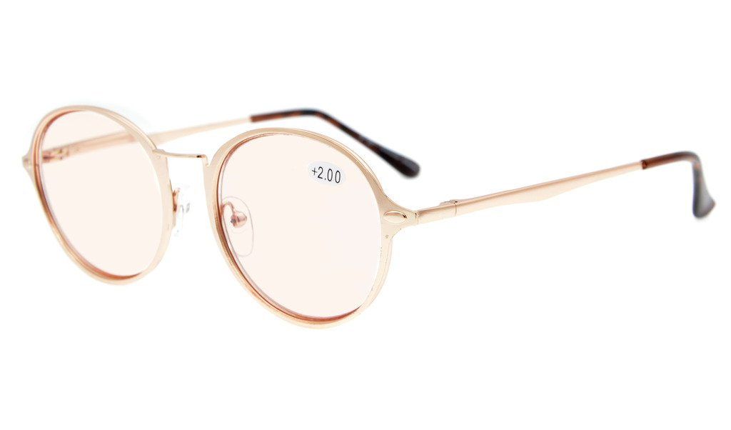 57428e70dc Eyekepper Computer Reading Glasses UV Protection Round Fashion Frame Tinted  Lens Readers Women CG1642