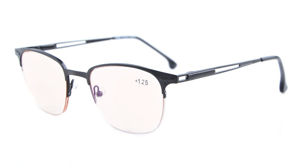 8d8fd89684 Eyekepper Computer Reading Glasses UV Protection Anti-Blue Rays Half-Rim  Spring Hinge Men CG1645