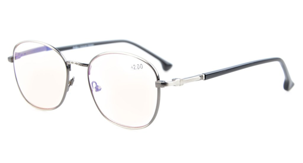 f42cb36f811c Eyekepper Computer Reading Glasses UV Protection Retro Round Metal Frame  Spring Hinge Readers Anti Silver CG1621