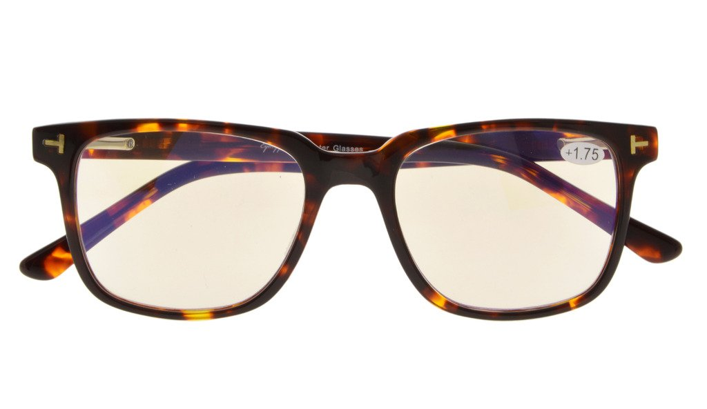 20abc41e5c Eyekepper Computer Reading Glasses UV Protection Anti Blue Light with RX-Able  Acetate Frame Amber Tinted Lens Tortoiseshell GX002