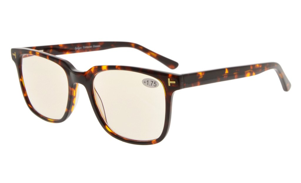 a8135af945 Eyekepper Computer Reading Glasses UV Protection Anti Blue Light with  RX-Able Acetate Frame Amber Tinted Lens Tortoiseshell GX002