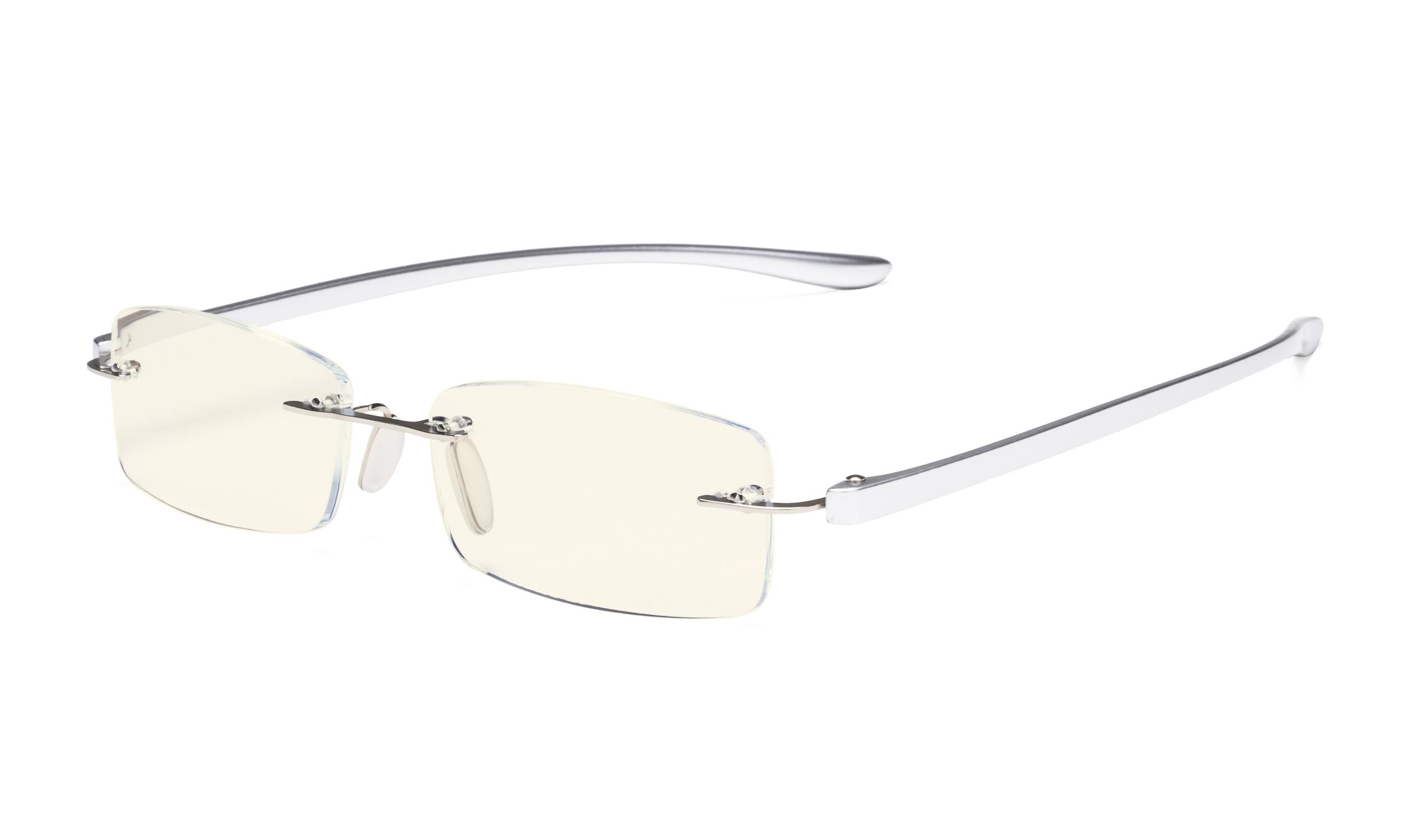 2fe01aec5447 Eyekepper Computer Reading Glasses Blue Light Filter Rimless Readers UV  Protection Silver UVCG1