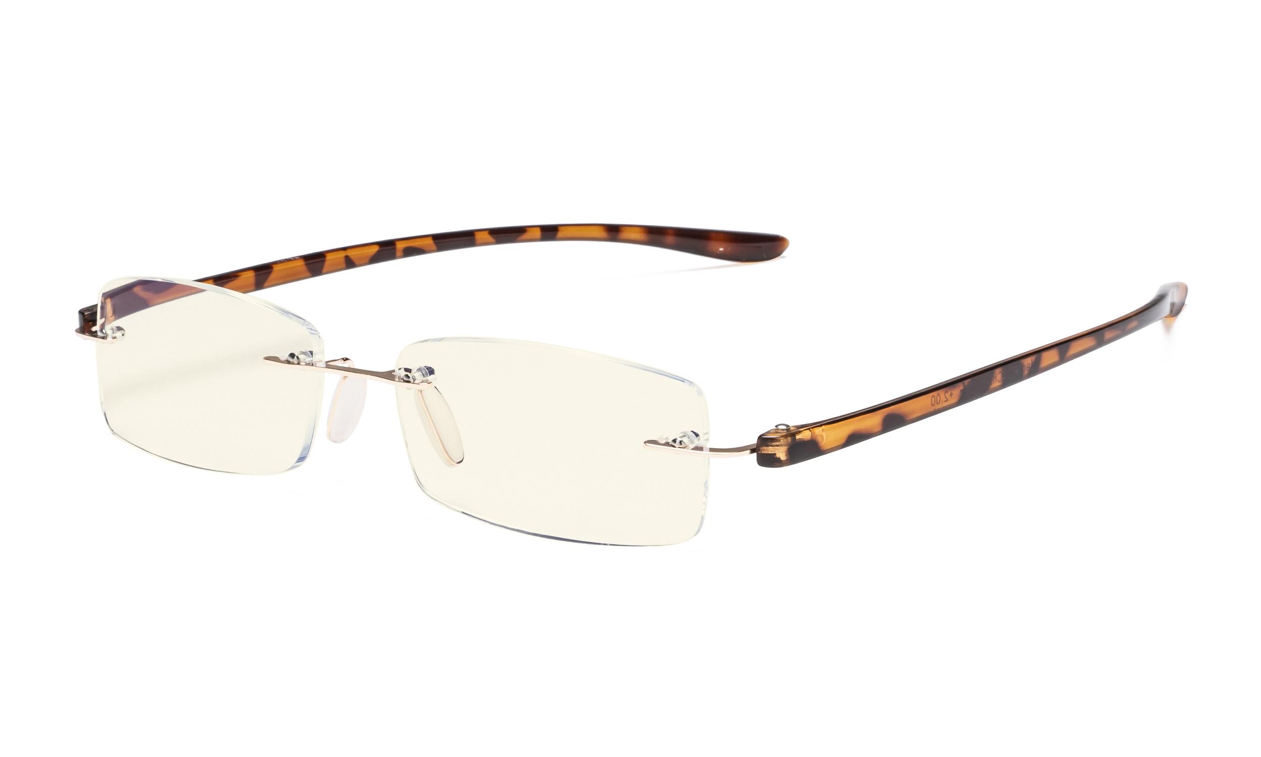 4296c875e861 Eyekepper Computer Reading Glasses Blue Light Filter Rimless Readers UV  Protection Tortoise Arm UVCG1