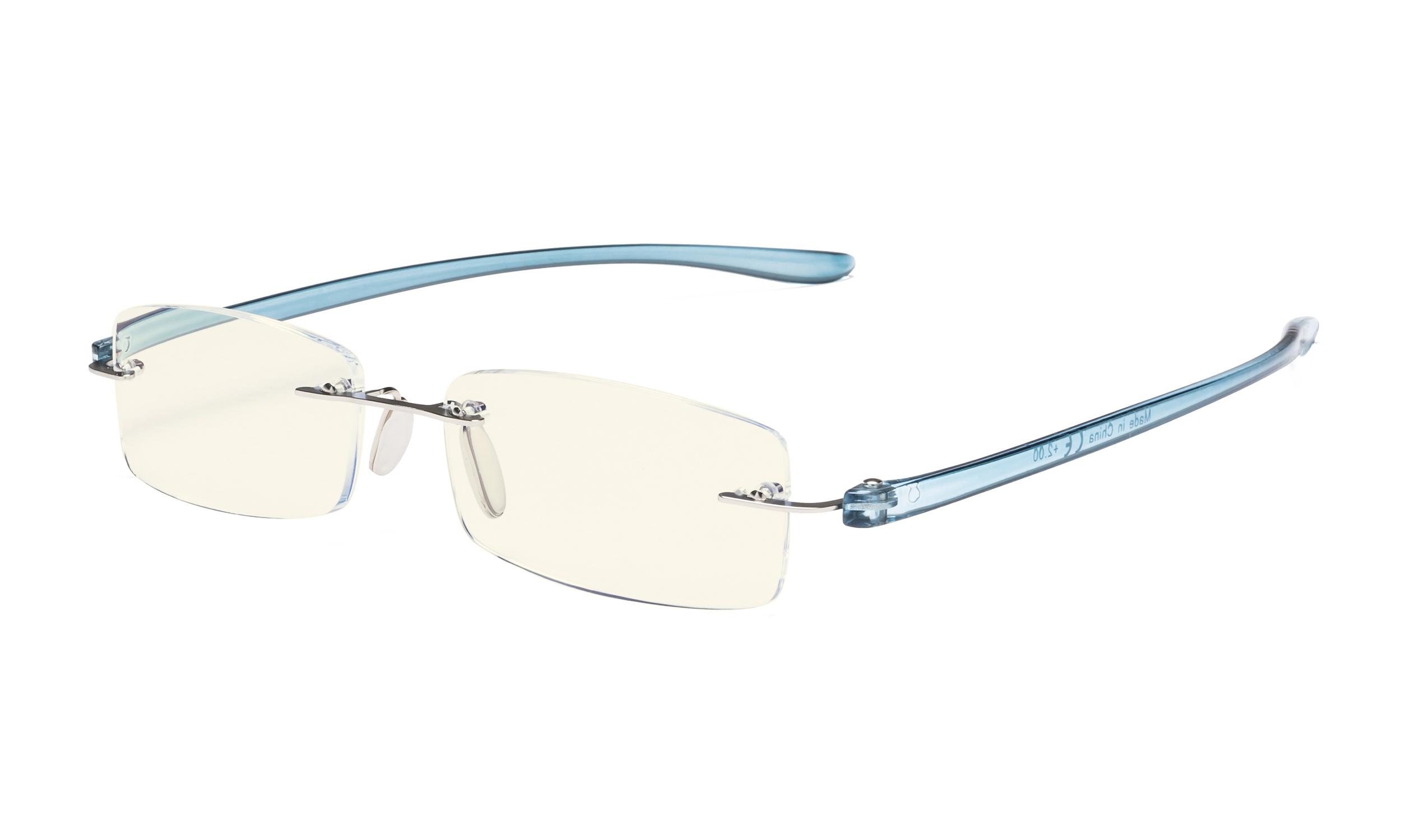 6bb19cf4da61 Eyekepper Computer Reading Glasses Blue Light Filter Rimless Readers UV  Protection Blue Arm UVCG1