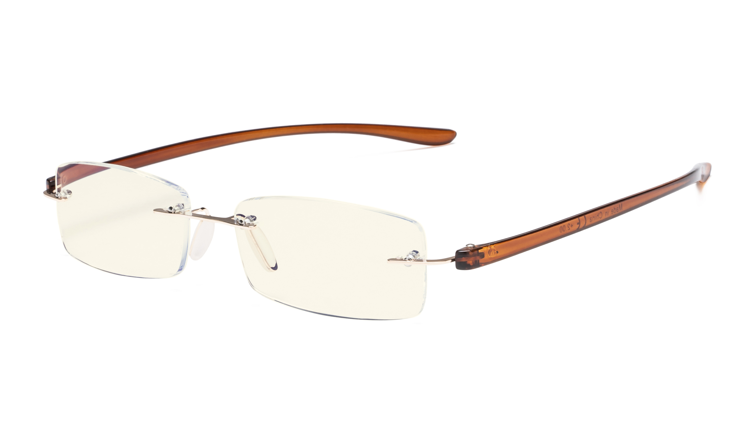 6d9ed592cd13 Computer Reading Glasses Blue Light Filter Rimless Readers UV Protection  Gold-Brown Arm UVCG1 Item NO: UVCG1-Gold-Brown Arm