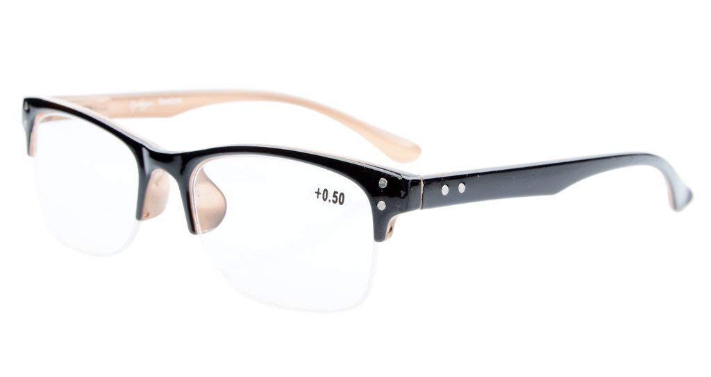 e72adc97ac6f Eyekepper Reading Glasses Stylish Half-rim Design with Quality Spring  Hinges Readers Black-Brown R088