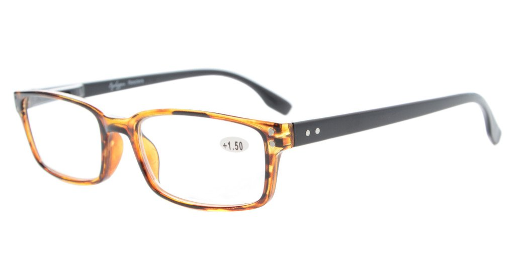 4db2db300054 Eyekepper Reading Glasses Classic Rectangle Design Frame with Quality Spring  Hinges Temples Readers Women Men Amber/Black Arm R097