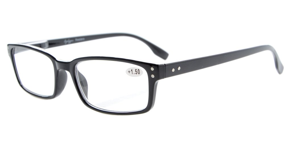 122b8ad9edcb Eyekepper Reading Glasses Classic Rectangle Design Frame with Quality Spring  Hinges Temples Readers Women Men Black R097