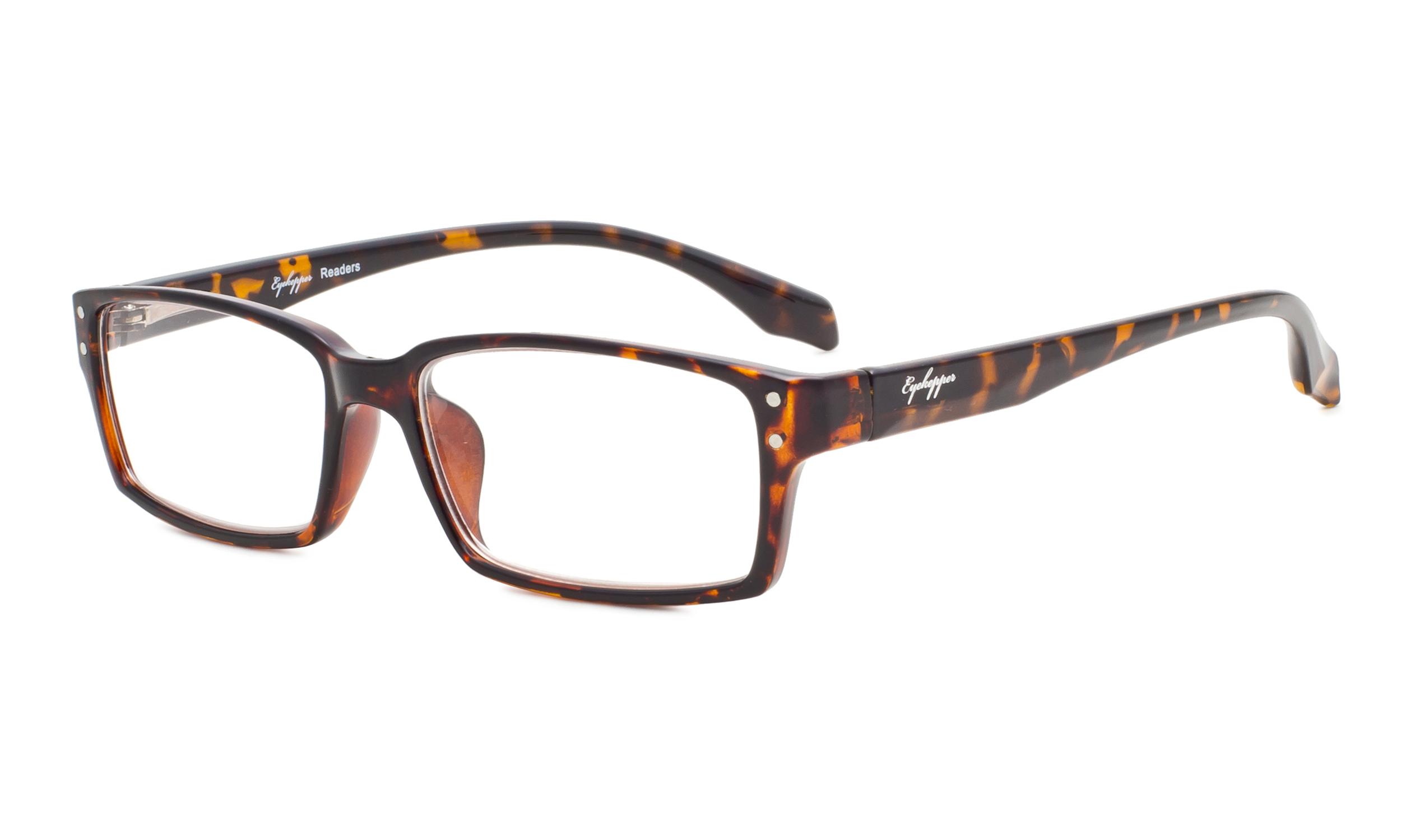 0d7a127978c21 Eyekepper Reading Glasses Classic rectangle Full Frame with Spring-Hinges  Classic Readers Women Men Tortoise R096