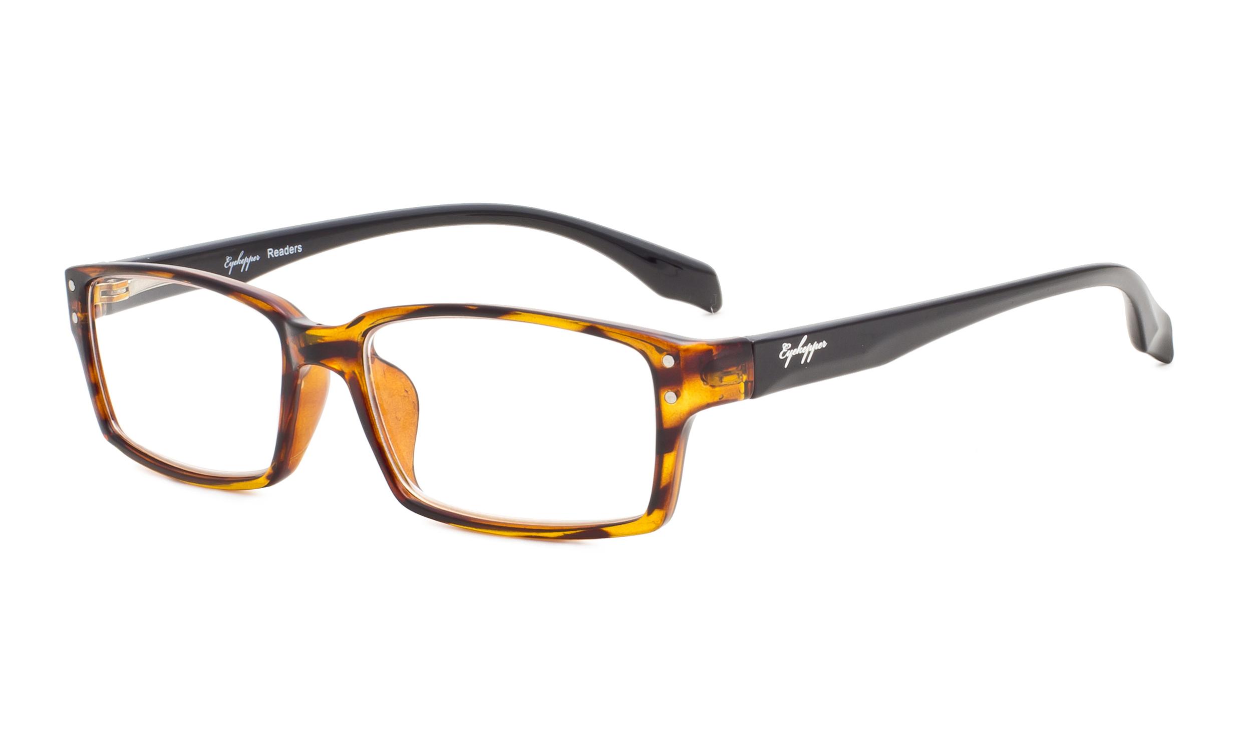 e5ff834ff11b Eyekepper Reading Glasses Classic rectangle Full Frame with Spring-Hinges  Classic Readers Women Men Amber/Black Arm R096