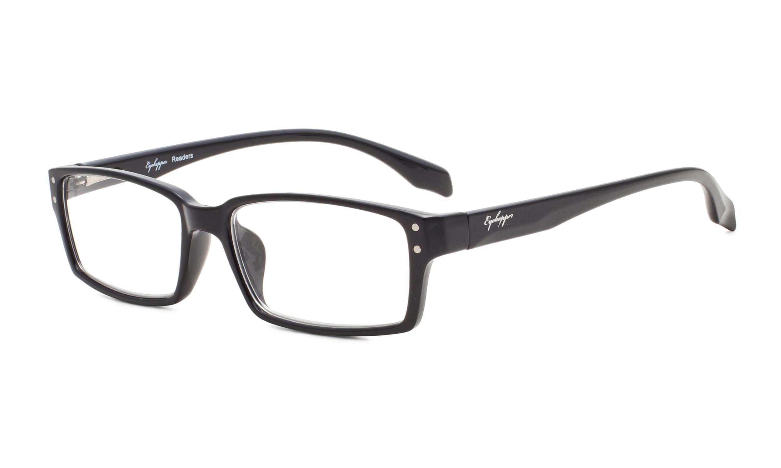 6c470877368e Eyekepper Reading Glasses Classic rectangle Full Frame with Spring-Hinges  Classic Readers Women Men Black R096