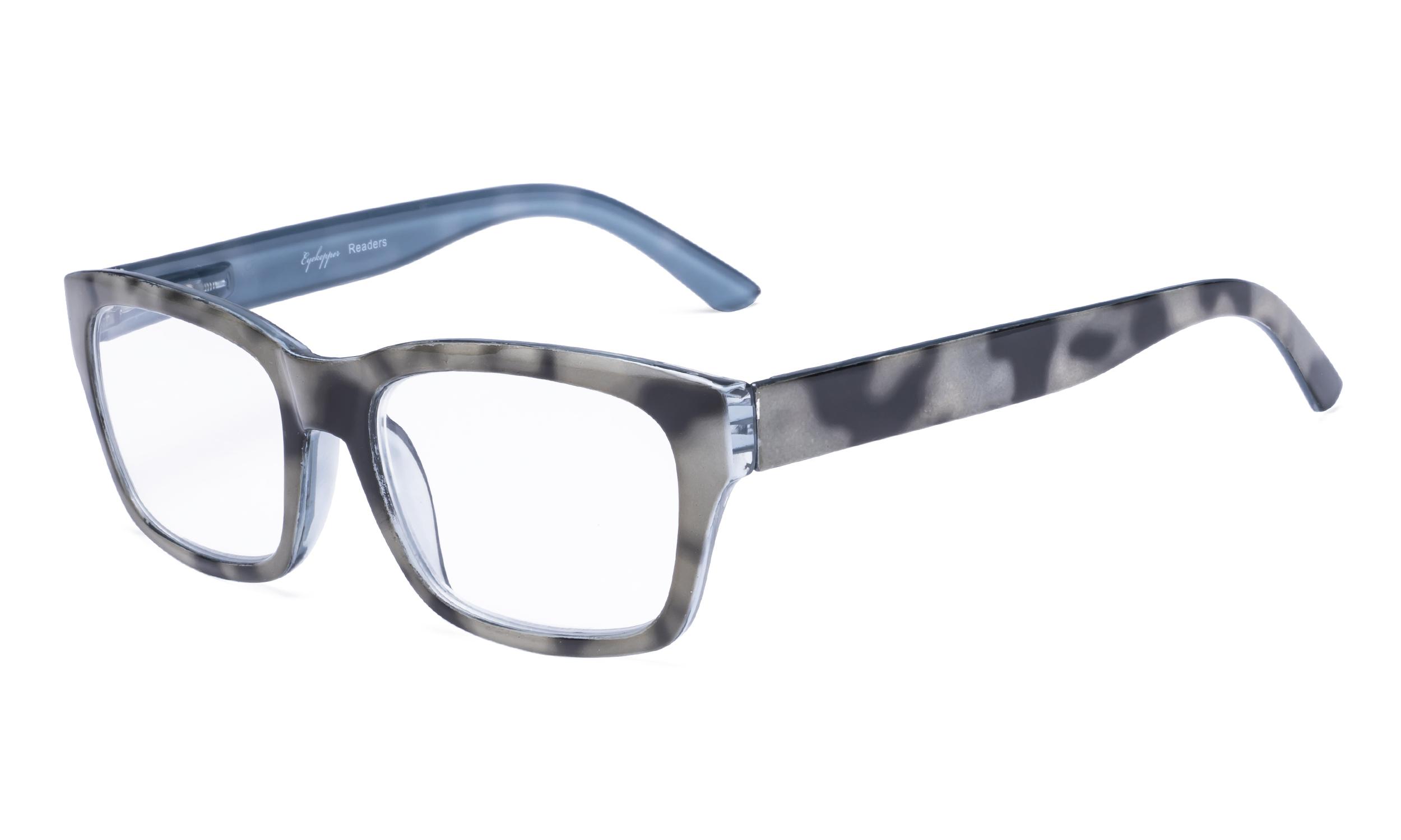 0564072df325 Eyekepper Reading Glasses Quality Spring Hinge Temples with Large Square  Frame Men Women Black-Grey R045