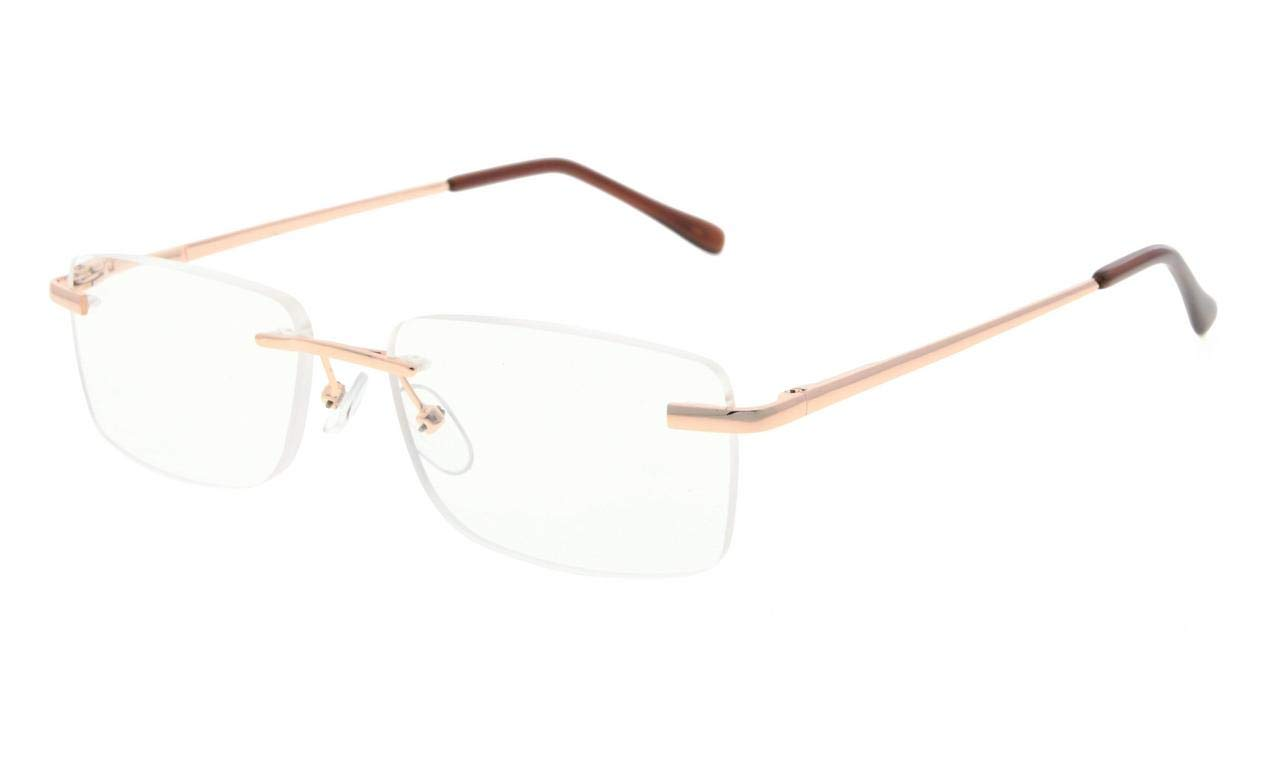 4606003205d Eyekepper Reading Glasses Stylish Rimless with Quality Spring Hinges Temples  Readers Women Men Gold R1612