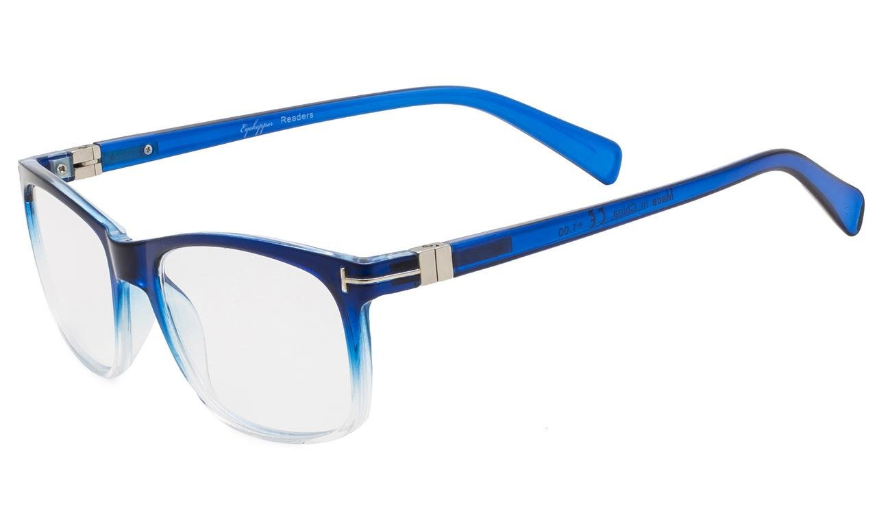 b80668cca88 Eyekepper Reading Glasses Fashion Retro Square Lens with Quality Spring  Hinges Readers Men Women Blue-Clear R150