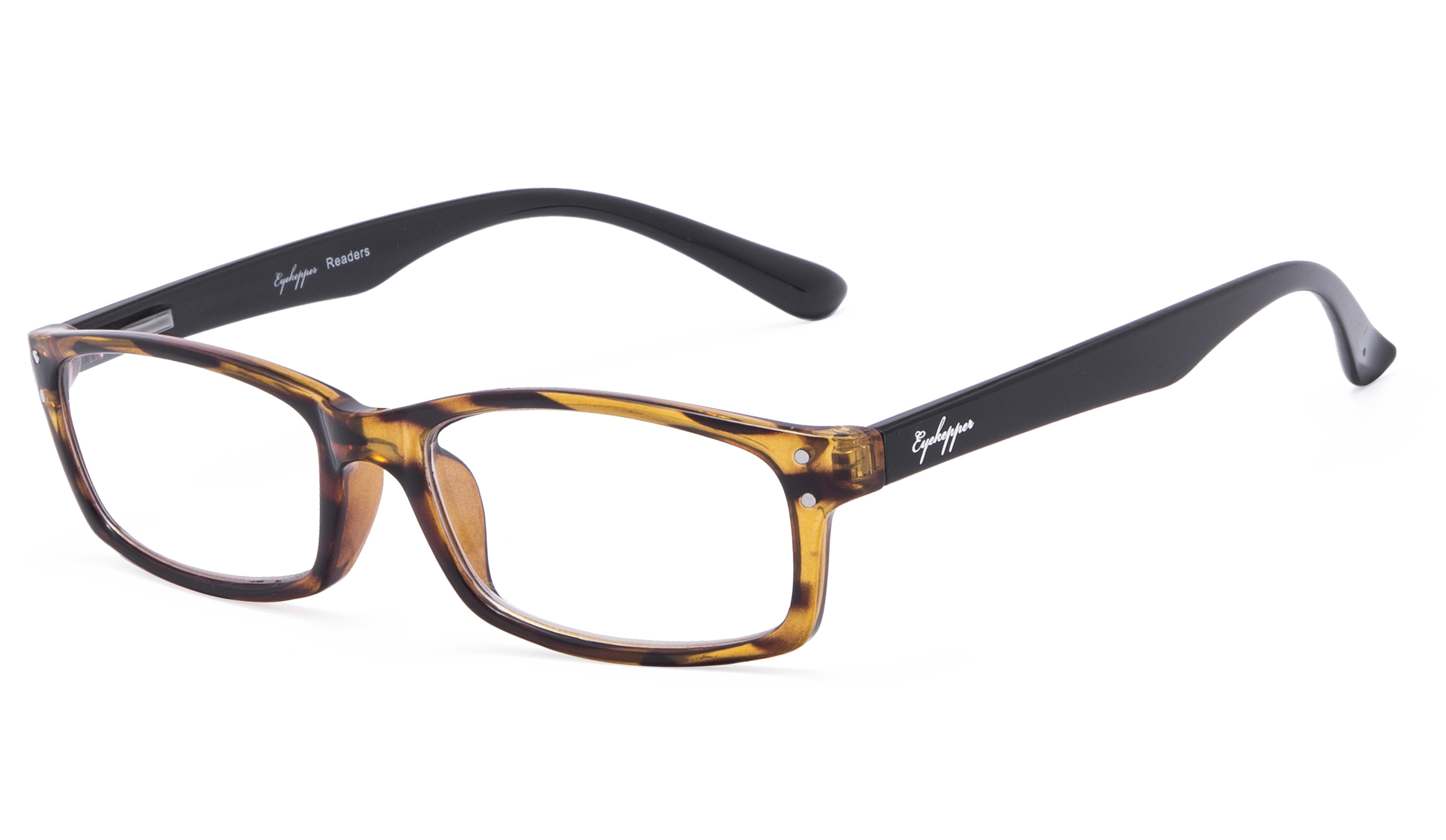 3149a8da0a08 Eyekepper Reading Glasses Classic Rectangle Design Frame with Quality Spring -Hinges Temples Readers Women Men Amber R103