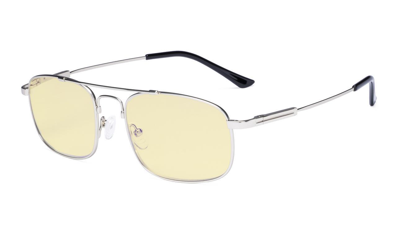 3415e85703b Eyekepper Blue light Glasses Men Women-Computer Eyeglasses-Memory Titamiun  Frame Spring Hinges Double Bridge Silver TMCG1705