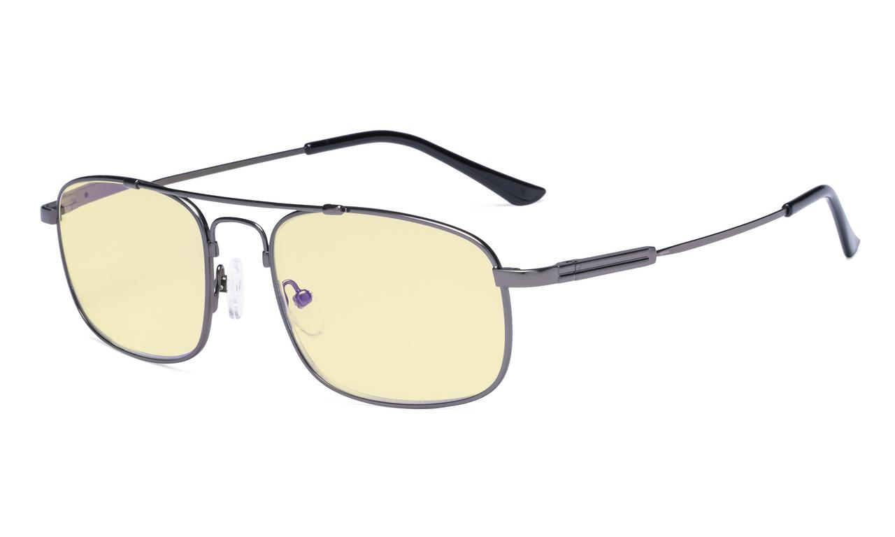 d5a72a640b Eyekepper Blue light Glasses Men Women-Computer Eyeglasses-Memory Titamiun  Frame Spring Hinges Double Bridge Gunmetal TMCG1705