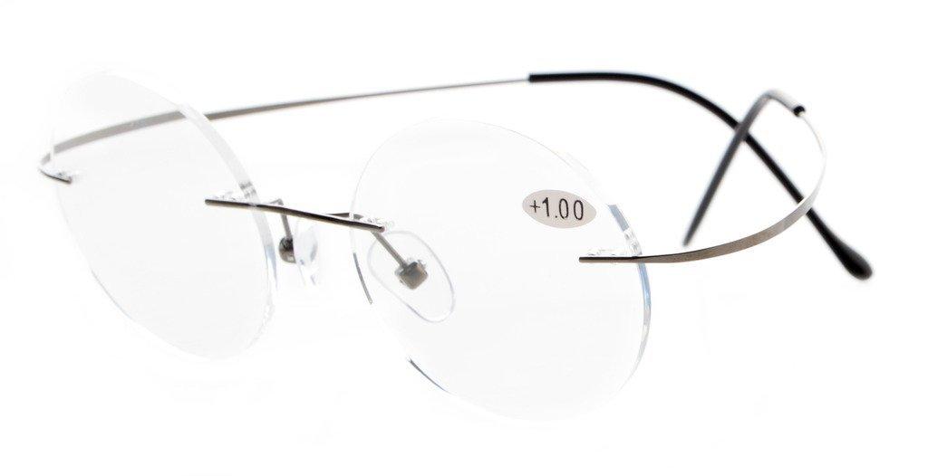 11407d11bff Eyekepper Titanium Rimless Round Reading Glasses Gunmetal R15026