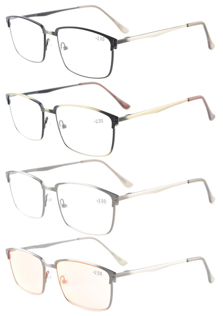 d5ba4b344b 4-Pack Spring Hings Brushed Metal Reading glasses Included Computer Glasses  R15045-Mix-4pcs Item NO  R15045-Mix