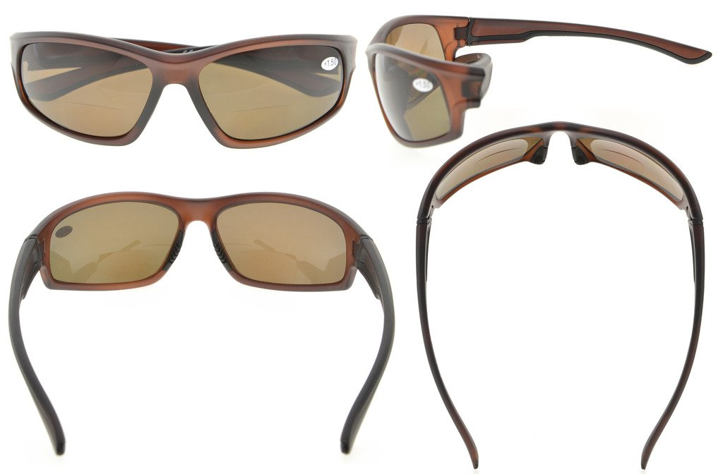 295b4d85e3 Eyekepper Bifocal Sunglasses with TR90 Frame for Finishing Driving Sports  Cool Style Man Brown-Frame TH6199-Bifocal