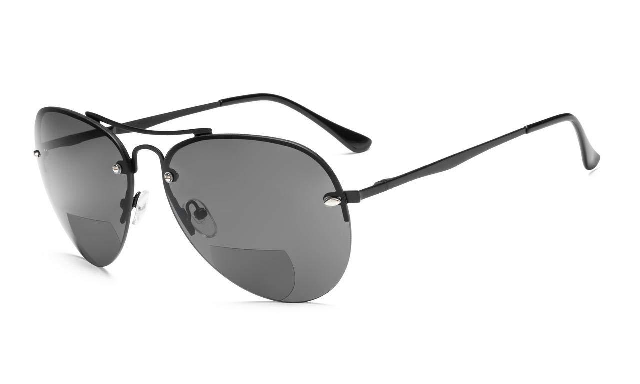 c97758f7d51 Eyekepper Half-rim Pilot Style Bifocal Reading Sunglasses Black S16016- Bifocal