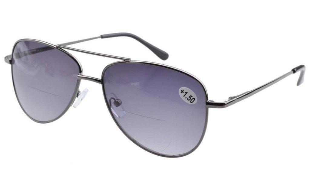 c910010a0ef Eyekepper Pilot Style Bifocal Reading Glasses Spring Hinge Sunshine Readers  Grey Lens R1502-Bifocal