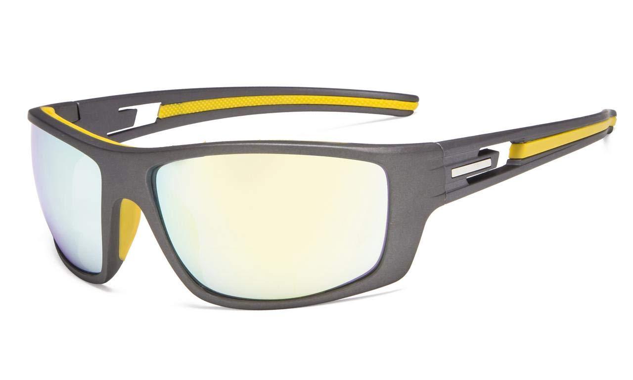 0c59a9ec3a43b Eyekepper Bifocal Reading Sunglasses for Sports TR90 Gold Mirror S066- Bifocal